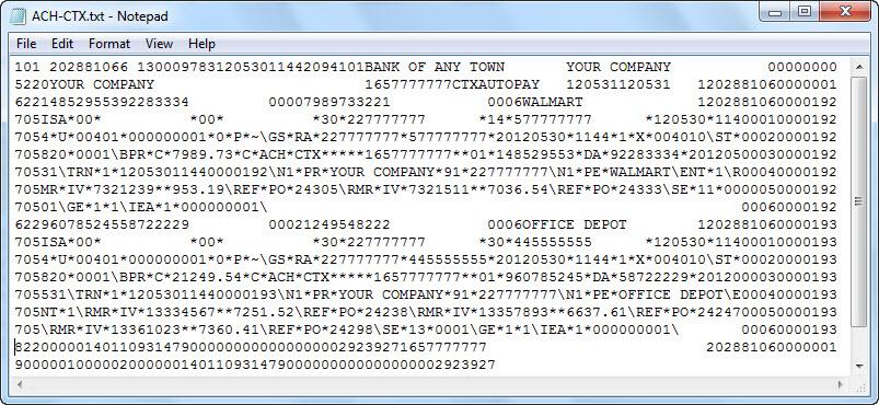 ACH Universal CTX-EDI file creation