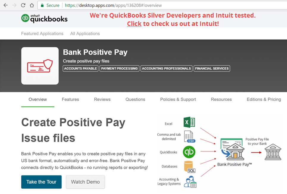 Bank Positive Pay for QuickBooks